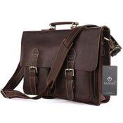 High Quality Handmade Bags Herren-Aktentasche / Laptoptasche / Umhängetasche, Leder, handgemacht, Farbe Dark Coffee, 39 x 7,6 x 29 cm - 1