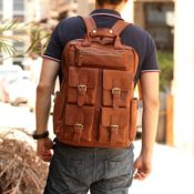 Leathario Herren Aktentasche Arbeitstasche Collegetasche rucksack Vintage Retro echte lederrucksack - 1